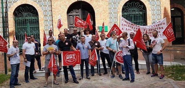 Concentración  de protesta en Huelva por los despidos en el Grupo RMD Seguridad, con la permisividad de  la Junta