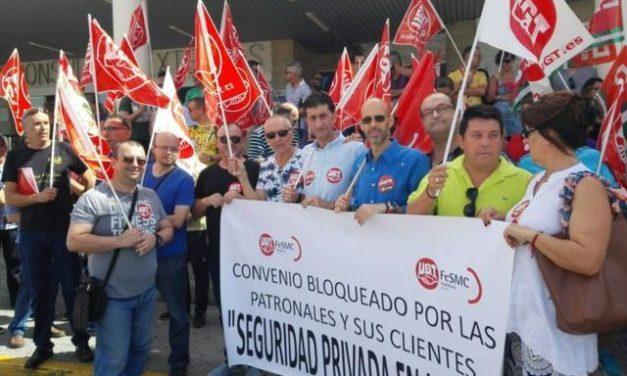 Concentración del sector de seguridad privada  Hospital Juan Ramón Jiménez de Huelva